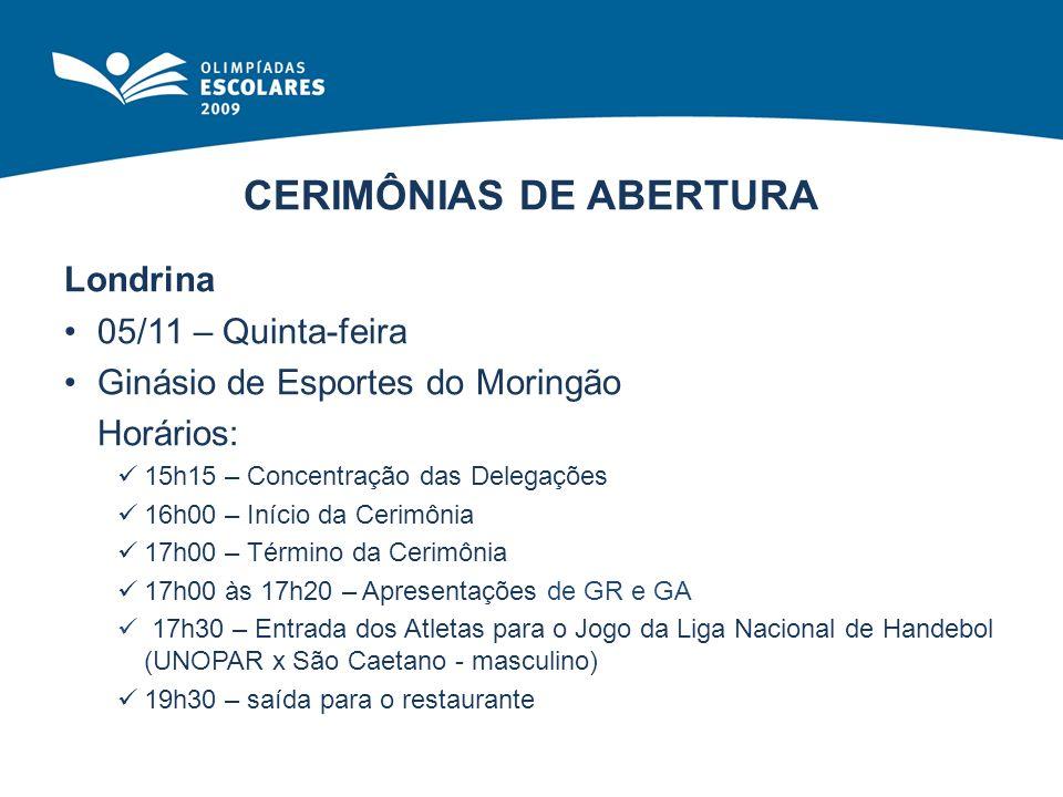 CERIMÔNIAS DE ABERTURA