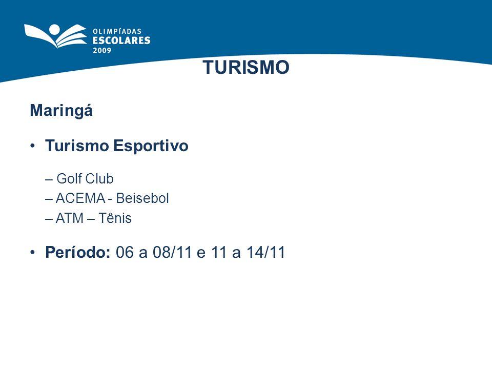 TURISMO Turismo Esportivo Período: 06 a 08/11 e 11 a 14/11
