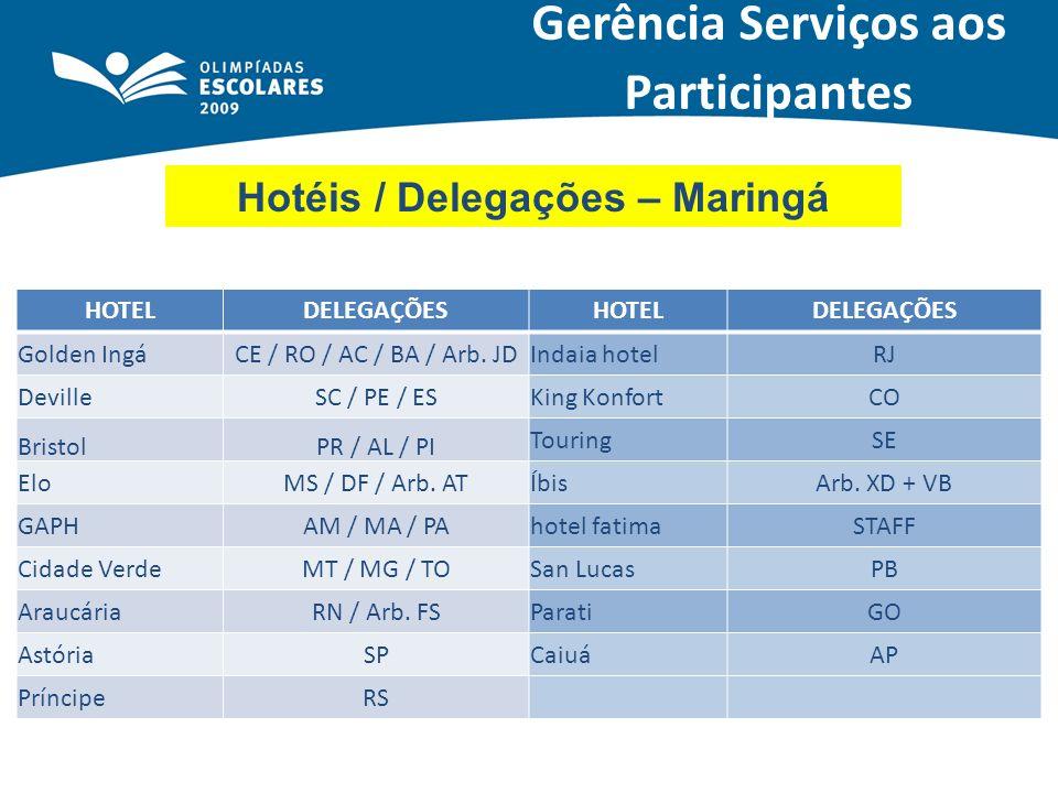 Gerência Serviços aos Participantes Hotéis / Delegações – Maringá