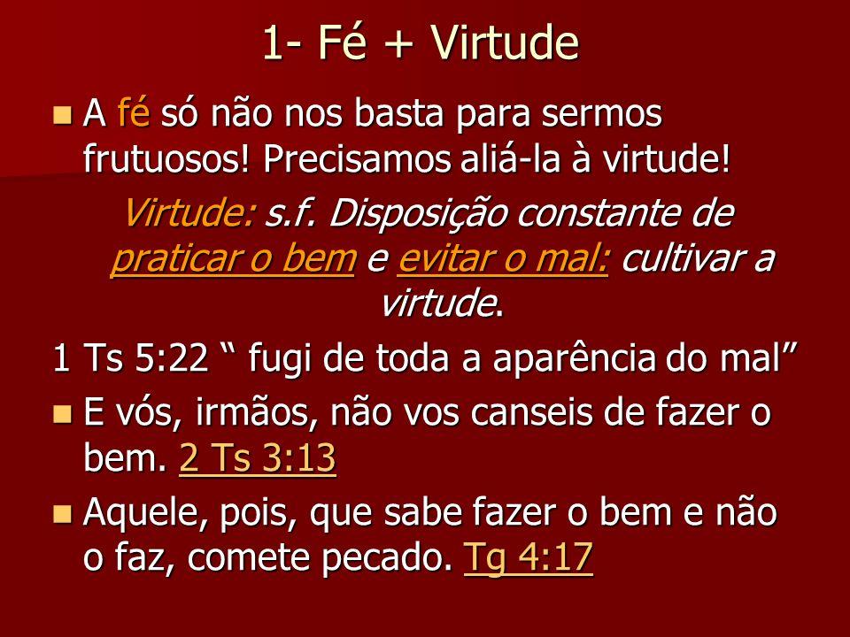 1- Fé + Virtude A fé só não nos basta para sermos frutuosos! Precisamos aliá-la à virtude!