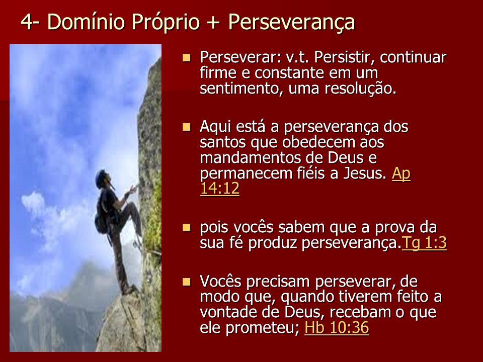 4- Domínio Próprio + Perseverança