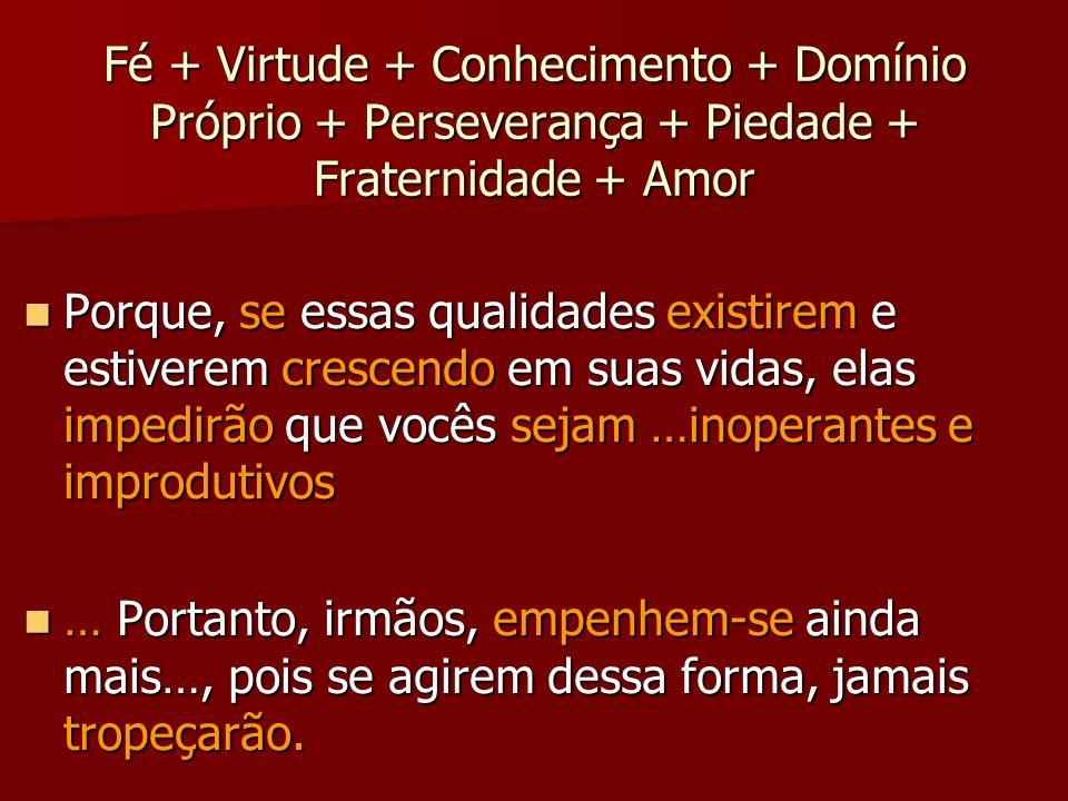 Fé + Virtude + Conhecimento + Domínio Próprio + Perseverança + Piedade + Fraternidade + Amor