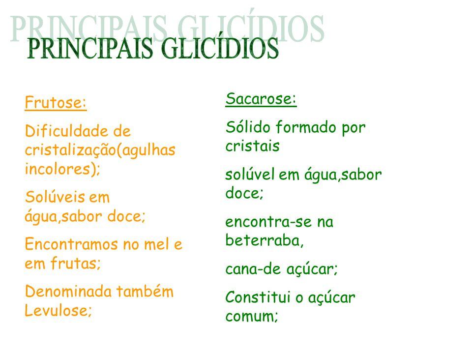 PRINCIPAIS GLICÍDIOS Sacarose: Frutose: Sólido formado por cristais