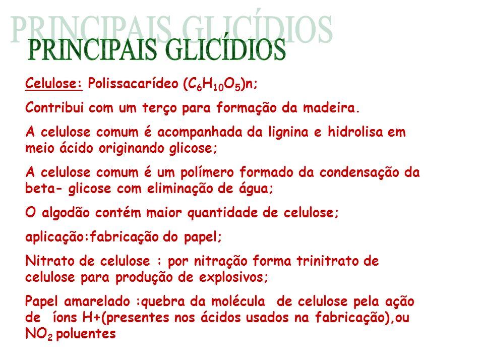 PRINCIPAIS GLICÍDIOS Celulose: Polissacarídeo (C6H10O5)n;