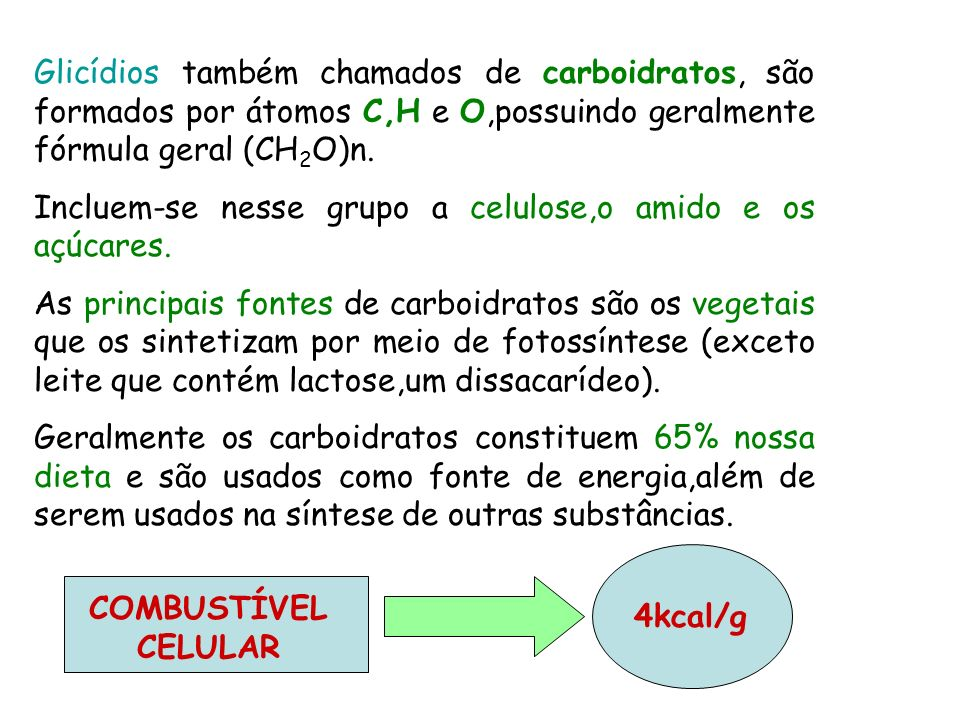 Glicídios também chamados de carboidratos, são formados por átomos C,H e O,possuindo geralmente fórmula geral (CH2O)n.