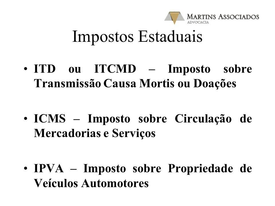 Impostos Estaduais ITD ou ITCMD – Imposto sobre Transmissão Causa Mortis ou Doações. ICMS – Imposto sobre Circulação de Mercadorias e Serviços.