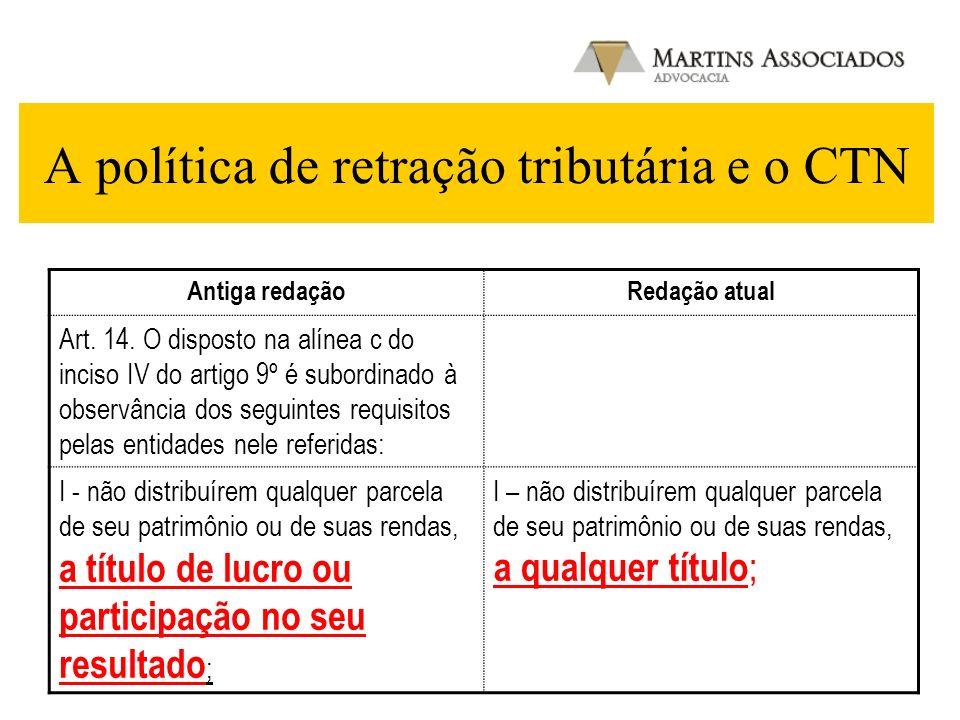 A política de retração tributária e o CTN