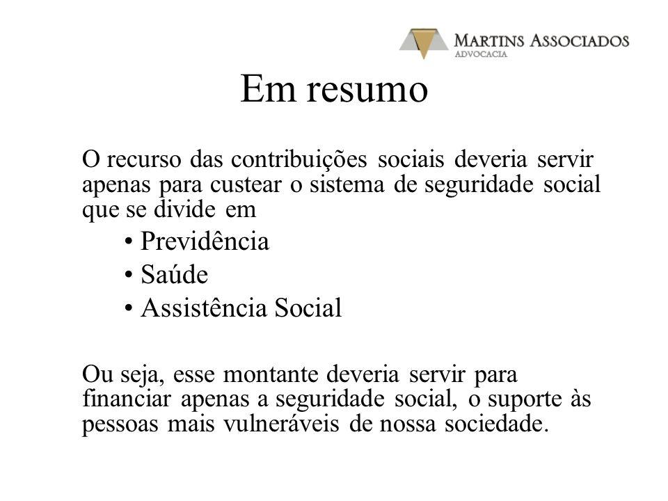Em resumo Previdência Saúde Assistência Social