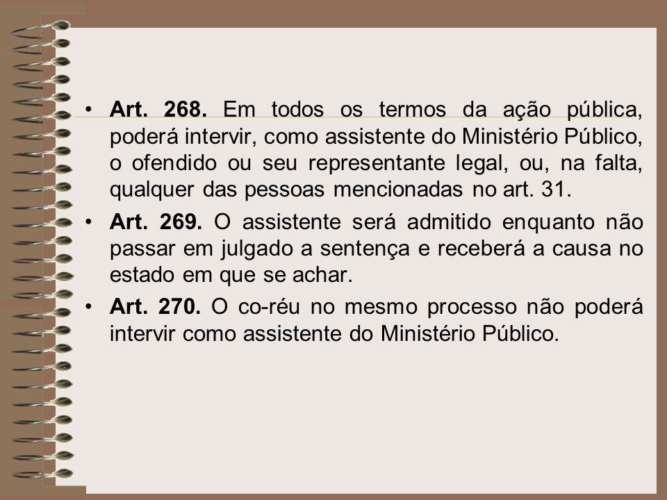 Art. 268. Em todos os termos da ação pública, poderá intervir, como assistente do Ministério Público, o ofendido ou seu representante legal, ou, na falta, qualquer das pessoas mencionadas no art. 31.