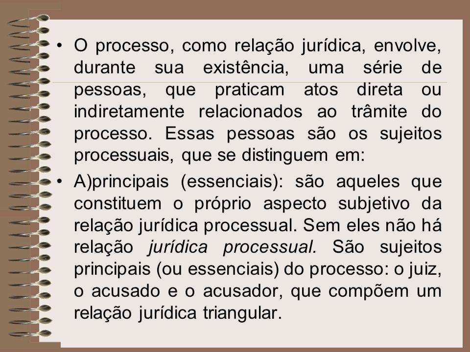 O processo, como relação jurídica, envolve, durante sua existência, uma série de pessoas, que praticam atos direta ou indiretamente relacionados ao trâmite do processo. Essas pessoas são os sujeitos processuais, que se distinguem em: