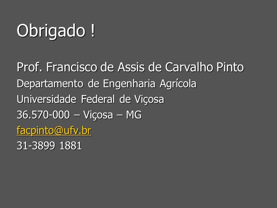 Obrigado ! Prof. Francisco de Assis de Carvalho Pinto