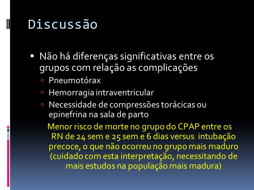 DiscussãoNão há diferenças significativas entre os grupos com relação as complicações. Pneumotórax.