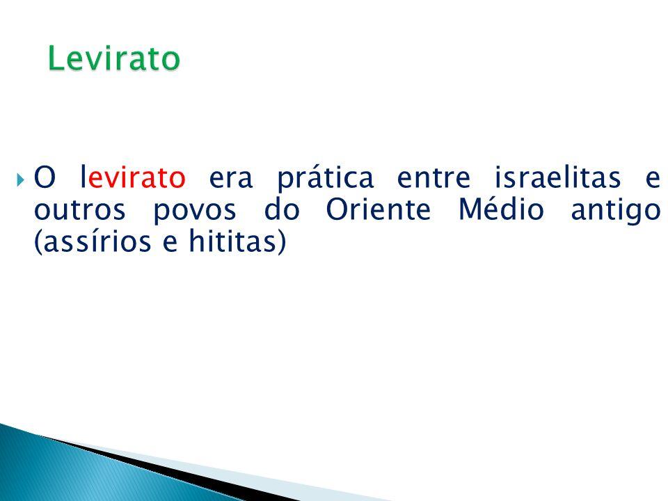 LeviratoO levirato era prática entre israelitas e outros povos do Oriente Médio antigo (assírios e hititas)