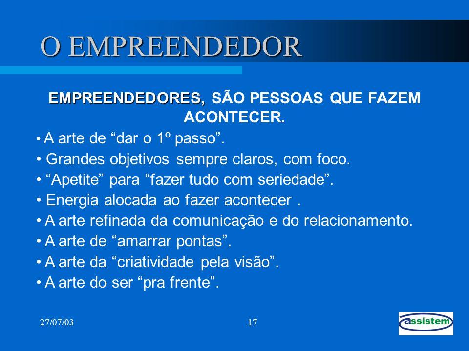 EMPREENDEDORES, SÃO PESSOAS QUE FAZEM ACONTECER.