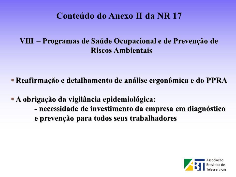 Conteúdo do Anexo II da NR 17