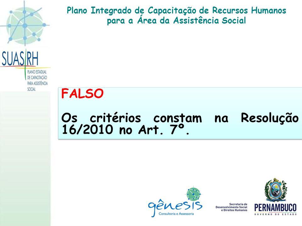 Os critérios constam na Resolução 16/2010 no Art. 7º.