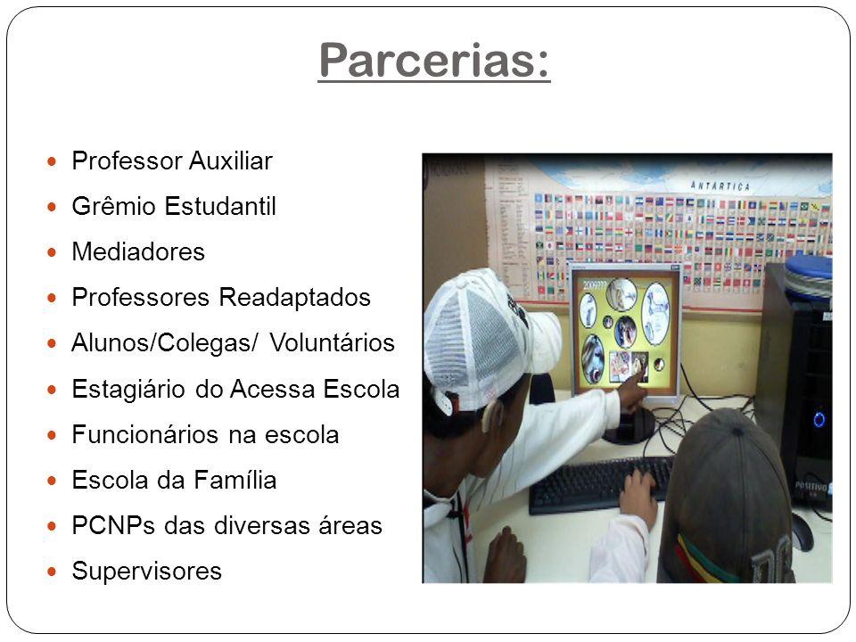 Parcerias: Professor Auxiliar Grêmio Estudantil Mediadores