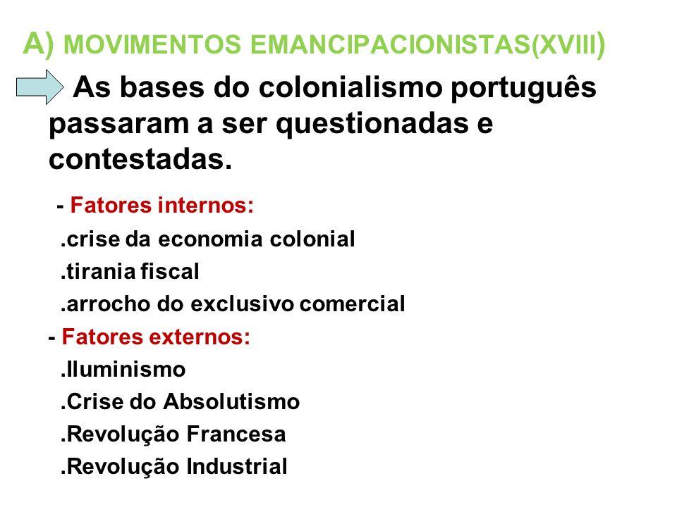 A) MOVIMENTOS EMANCIPACIONISTAS(XVIII)