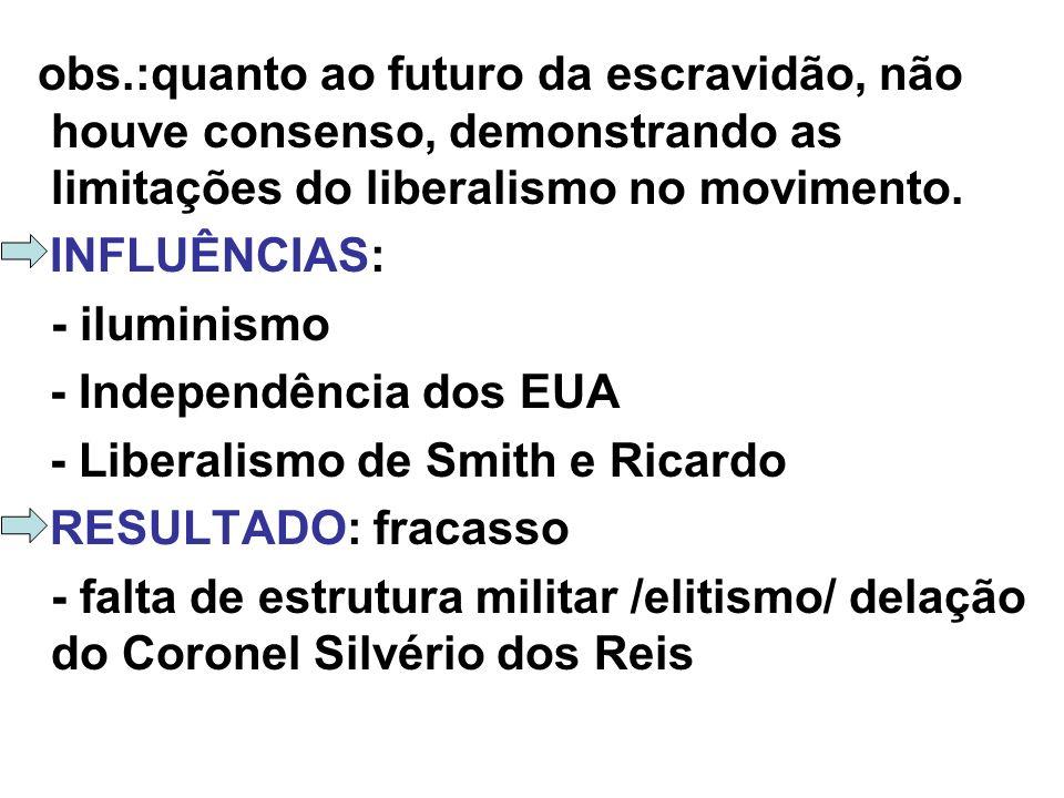 obs.:quanto ao futuro da escravidão, não houve consenso, demonstrando as limitações do liberalismo no movimento.