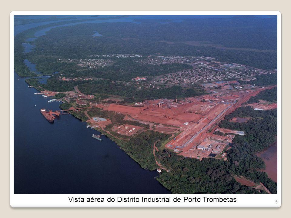Vista aérea do Distrito Industrial de Porto Trombetas