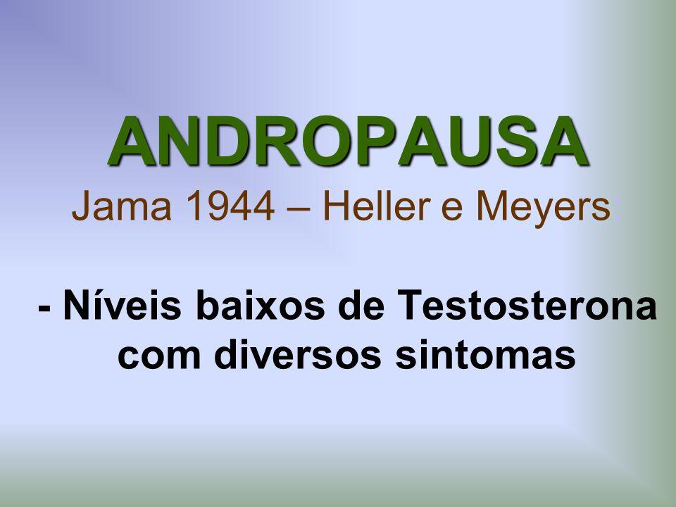 ANDROPAUSA Jama 1944 – Heller e Meyers: - Níveis baixos de Testosterona com diversos sintomas