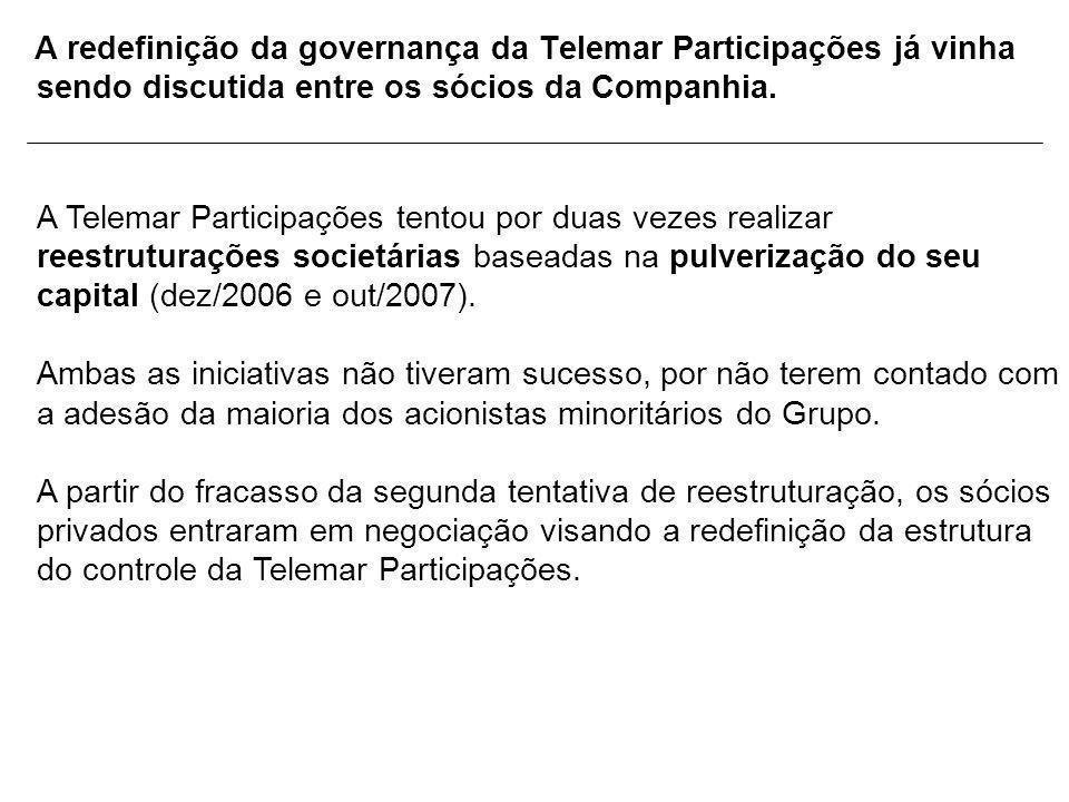 A redefinição da governança da Telemar Participações já vinha sendo discutida entre os sócios da Companhia.