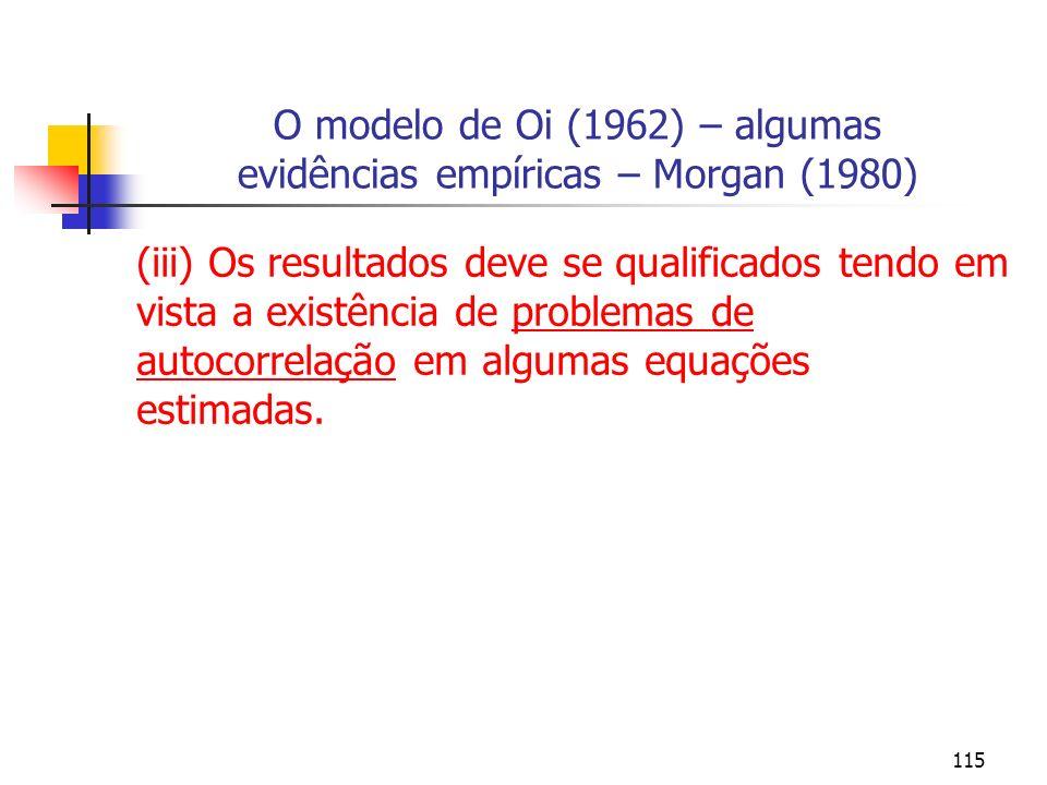 O modelo de Oi (1962) – algumas evidências empíricas – Morgan (1980)