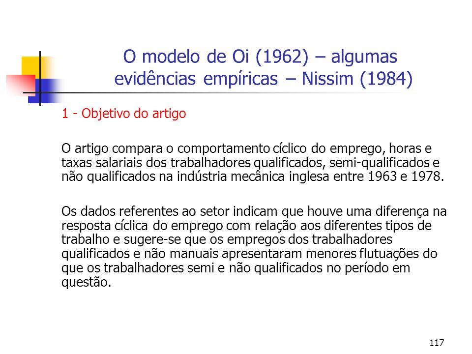 O modelo de Oi (1962) – algumas evidências empíricas – Nissim (1984)