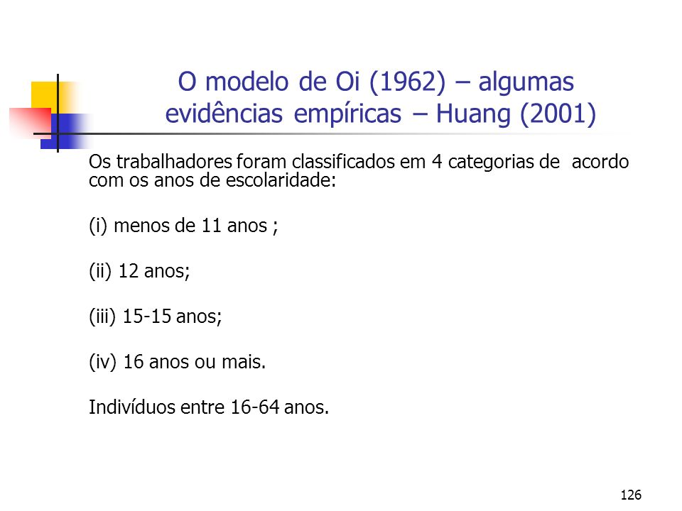 O modelo de Oi (1962) – algumas evidências empíricas – Huang (2001)