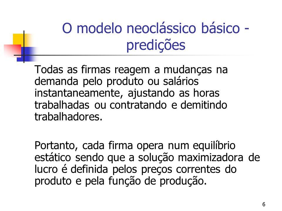 O modelo neoclássico básico - predições