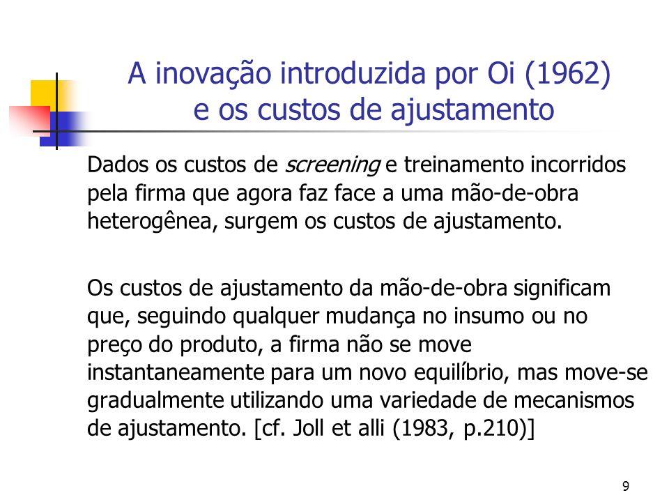 A inovação introduzida por Oi (1962) e os custos de ajustamento