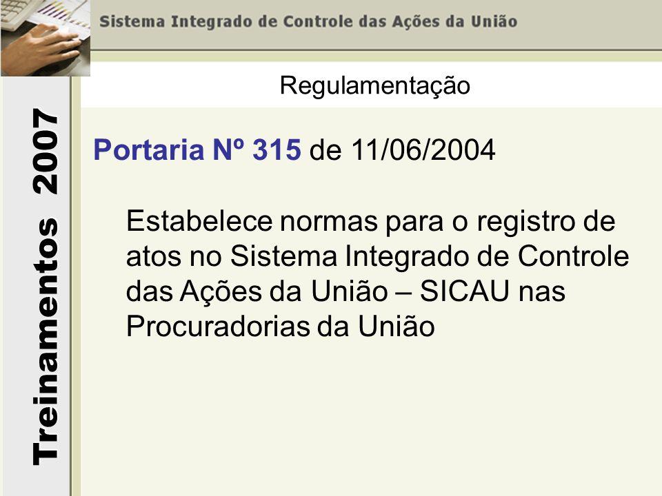 Regulamentação Portaria Nº 315 de 11/06/2004.