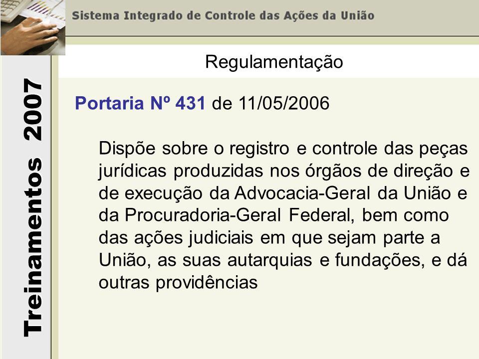 Regulamentação Portaria Nº 431 de 11/05/2006. Dispõe sobre o registro e controle das peças jurídicas produzidas nos órgãos de direção e.