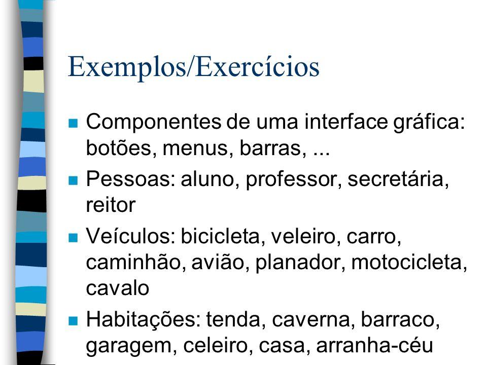 Exemplos/Exercícios Componentes de uma interface gráfica: botões, menus, barras, ... Pessoas: aluno, professor, secretária, reitor.