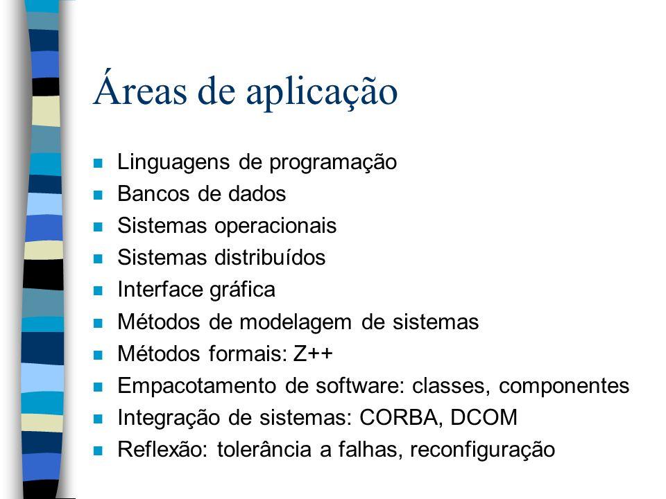Áreas de aplicação Linguagens de programação Bancos de dados