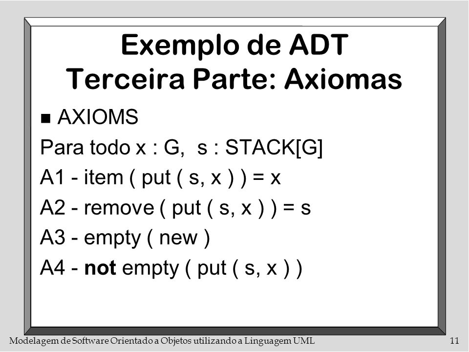 Exemplo de ADT Terceira Parte: Axiomas