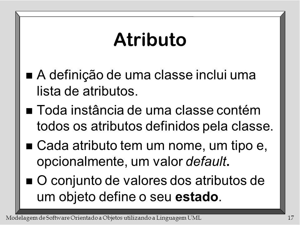 Atributo A definição de uma classe inclui uma lista de atributos.
