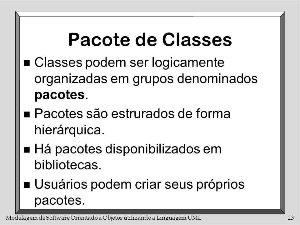 Pacote de ClassesClasses podem ser logicamente organizadas em grupos denominados pacotes. Pacotes são estrurados de forma hierárquica.