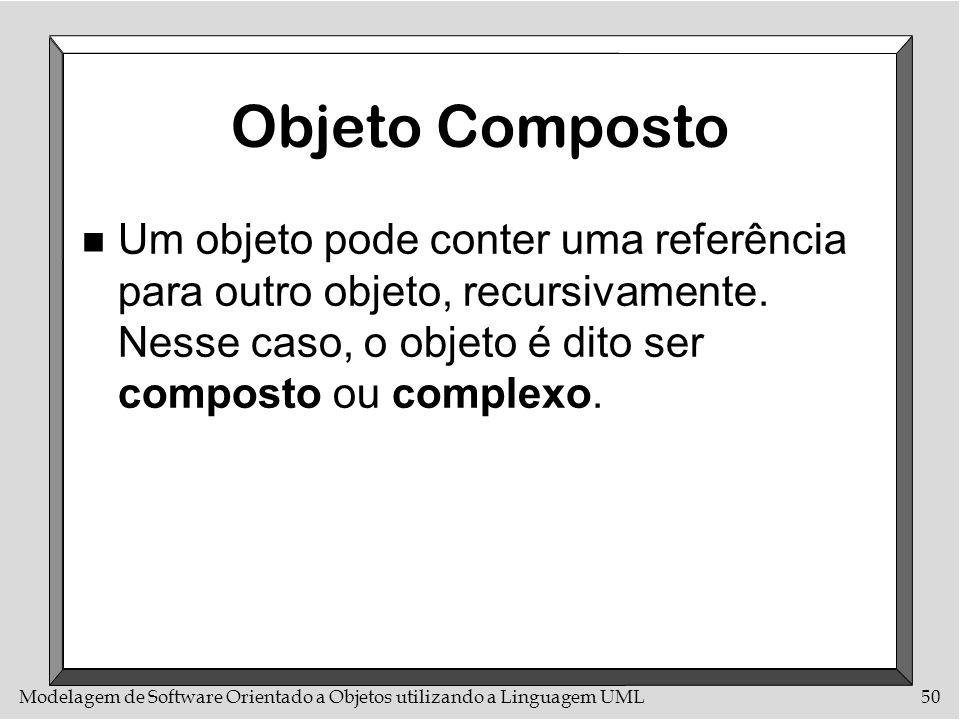 Objeto CompostoUm objeto pode conter uma referência para outro objeto, recursivamente.