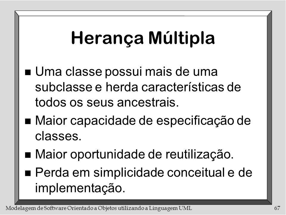Herança MúltiplaUma classe possui mais de uma subclasse e herda características de todos os seus ancestrais.
