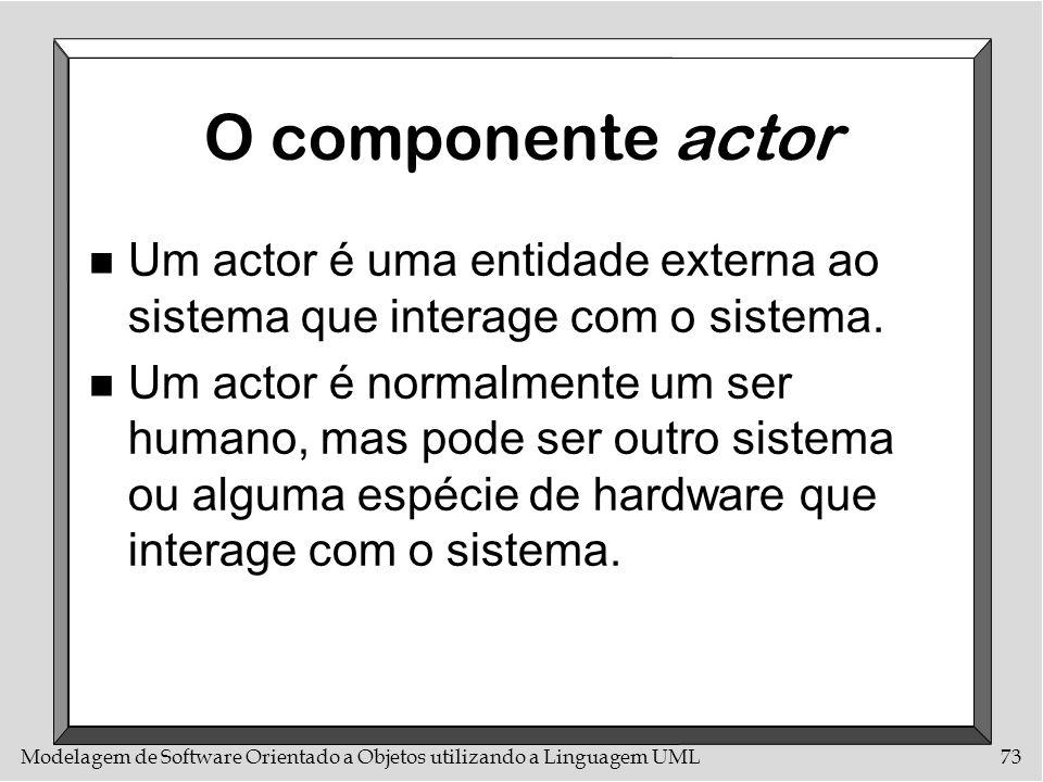 O componente actor Um actor é uma entidade externa ao sistema que interage com o sistema.