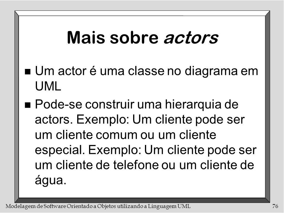 Mais sobre actors Um actor é uma classe no diagrama em UML
