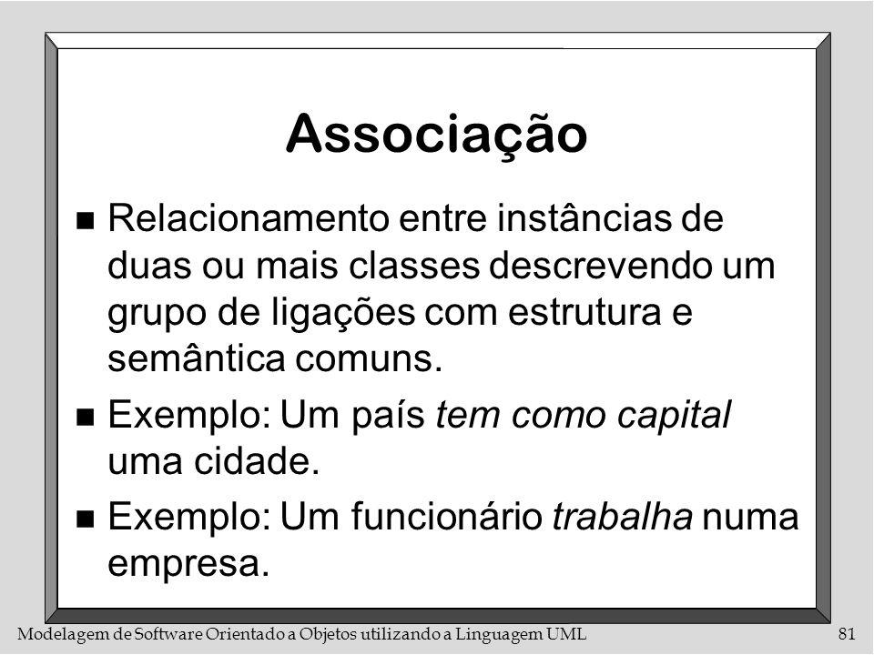 AssociaçãoRelacionamento entre instâncias de duas ou mais classes descrevendo um grupo de ligações com estrutura e semântica comuns.
