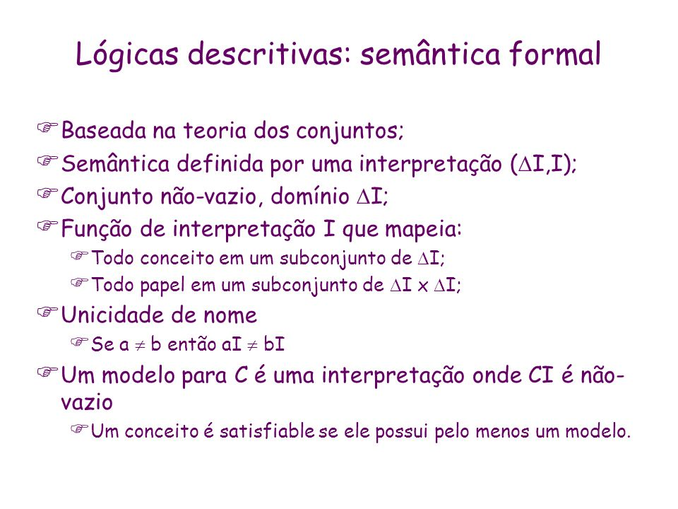 Lógicas descritivas: semântica formal