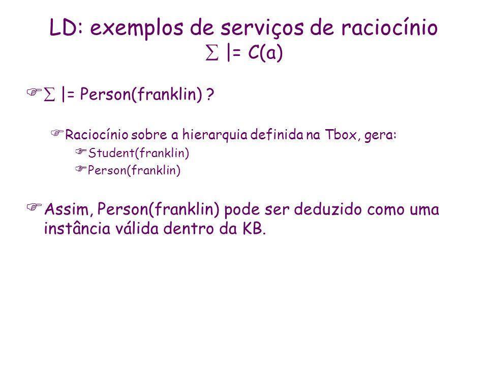 LD: exemplos de serviços de raciocínio  |= C(a)