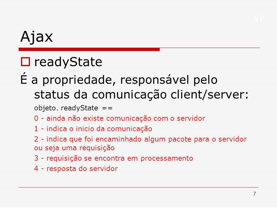 Ajax readyState. É a propriedade, responsável pelo status da comunicação client/server: objeto. readyState ==
