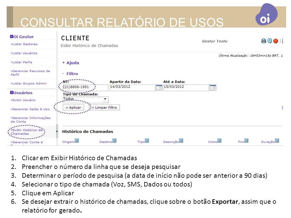 CONSULTAR RELATÓRIO DE USOS
