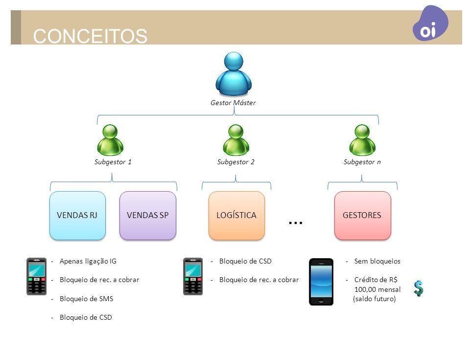 CONCEITOS … VENDAS RJ VENDAS SP LOGÍSTICA GESTORES Gestor Máster
