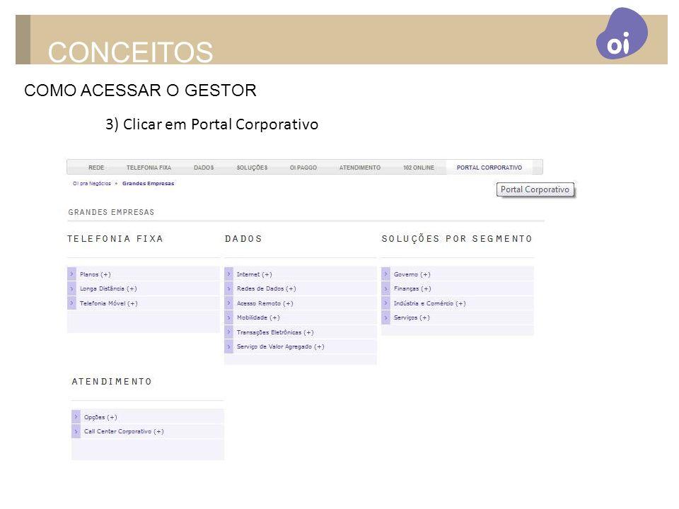 CONCEITOS COMO ACESSAR O GESTOR 3) Clicar em Portal Corporativo