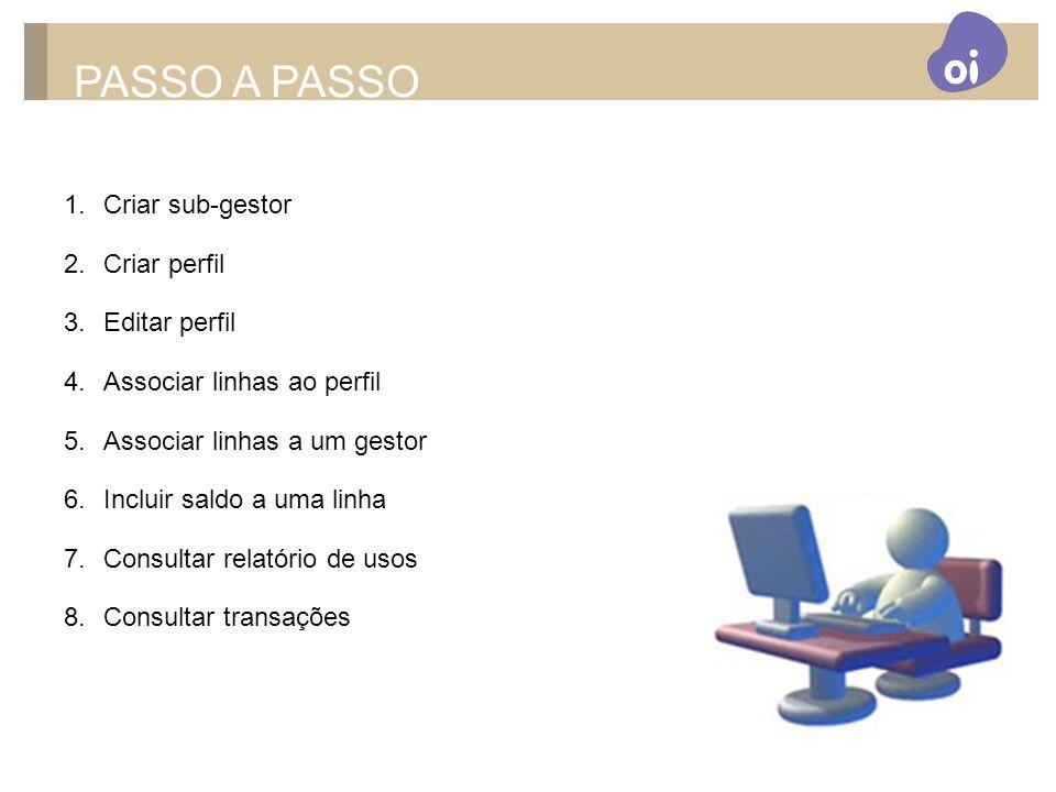 PASSO A PASSO Criar sub-gestor Criar perfil Editar perfil